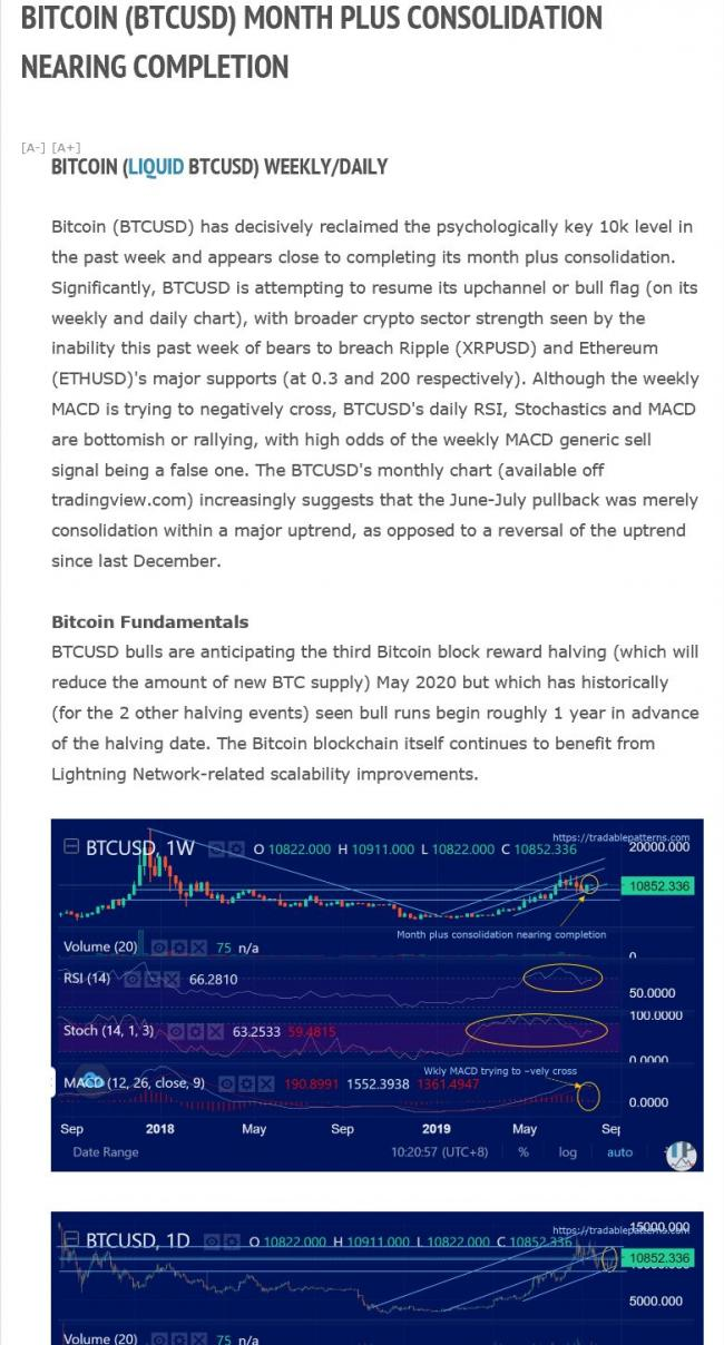Crypto Weekly Outlook (sample from Aug 3, 2019)