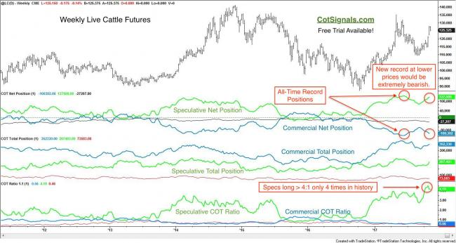 Weekly live cattle futures with Commitments of Trader data puts the speculators' wild bullishness in context.