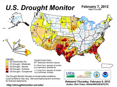 Feb 7th 2012 Drought Map