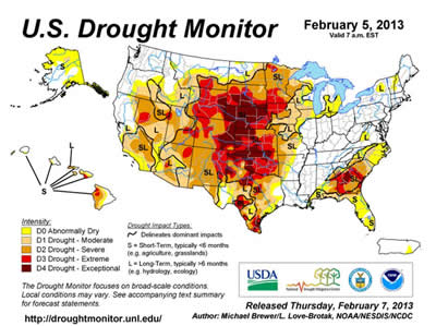 Feb 5th 2013 Drought Map