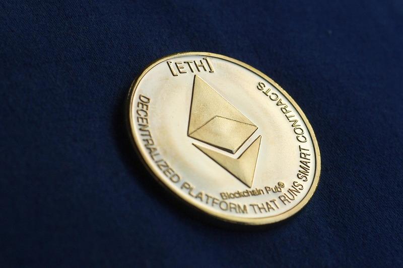 Crypto - Ethereum Blockchain Coin Dark Background