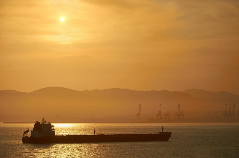Energy - A sunset over a fuel tanker