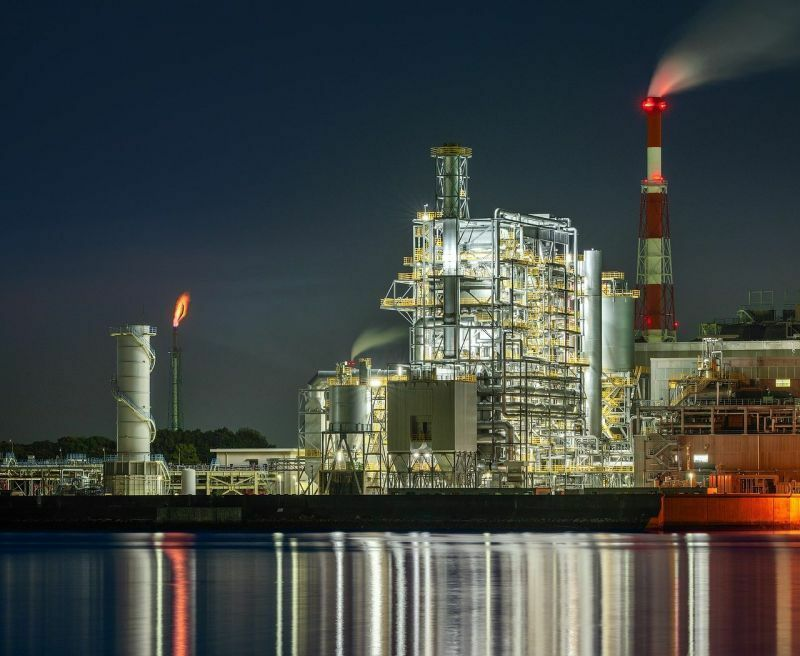 Energy - Natural Gas Night Flare at Plant