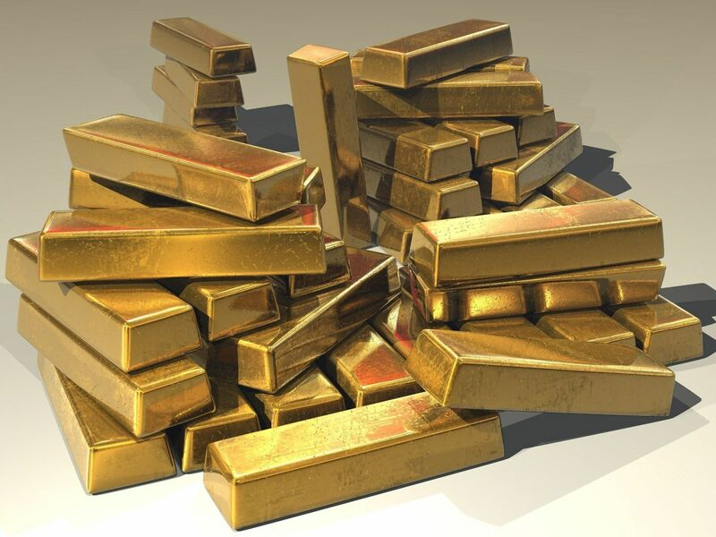 Metals - gold bullion stacked