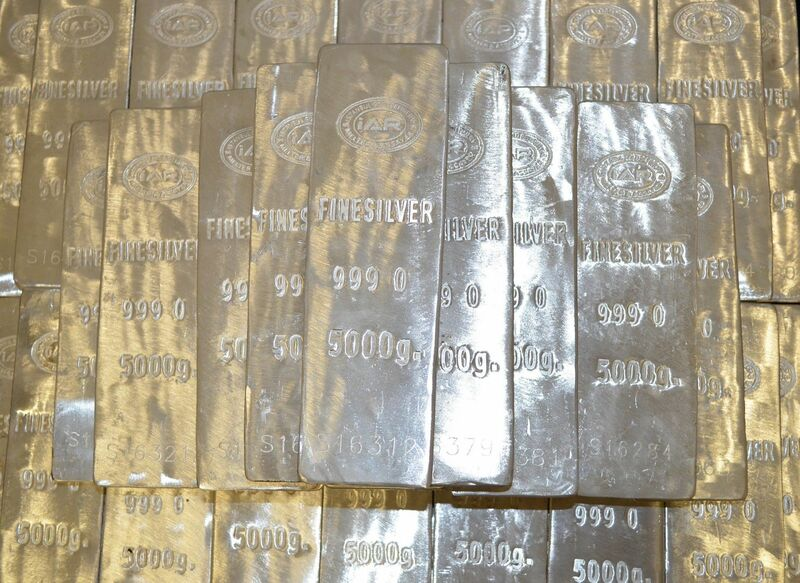 Metals - silver bars stacked