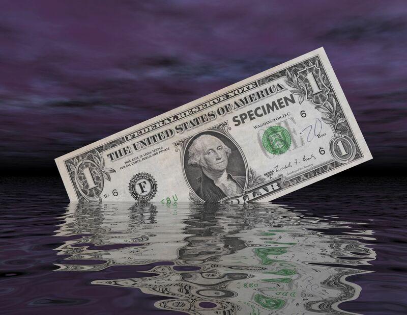 Stocks-Money-Rates - Dollar Bill on Grey Background