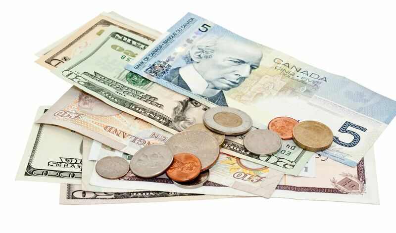 Stocks-Money-Rates - Global Currency Bills and Coins