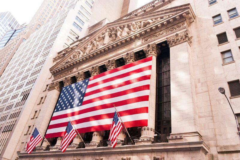 Stocks-Money-Rates - NYSE Stock Market American Flag